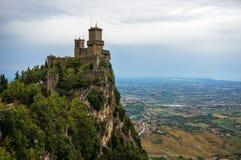 Della Guaita, castello di Rocca nella repubblica di San Marino, Italia Immagini Stock Libere da Diritti