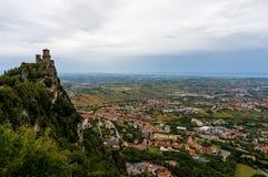 Della Guaita, castello di Rocca nella repubblica di San Marino, Italia Fotografia Stock Libera da Diritti
