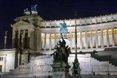 Della Patria di Altare illuminato alla notte Fotografia Stock
