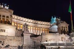 Della Patria di Altare nella città di Roma nella notte Immagine Stock