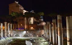 Della Patria Roma di Altare di notte Fotografie Stock