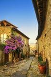 Della Pescaia Castiglione, старая улица на заходе солнца Maremma Тоскана стоковое изображение rf