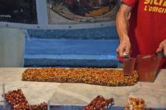 Della Porchetta di Ariccia, un aliment d'été et événement de Sagra de vin photographie stock