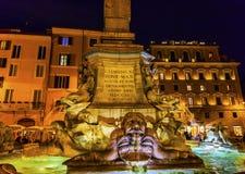 Della Porta Fountain Pantheon Piazza Rotunda Night Rome Italy Stock Photography