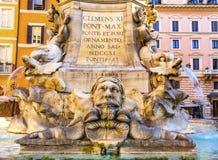 Della Porta Fountain Pantheon Piazza Rotunda Night Rome Italy Royalty Free Stock Image