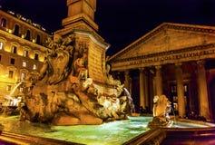 Della Porta Fountain Pantheon Piazza Rotunda Night Rome Italy Stock Images
