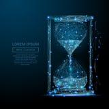 Della sabbia dell'orologio poli blu in basso illustrazione di stock