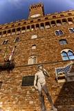 Della Signoria David Statue Florence van Palazzo Royalty-vrije Stock Afbeeldingen