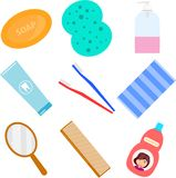 Della stazione termale vita ancora Accessori per lavare nel bagno Pezzuola per lavare, pettine, spazzolino da denti, sciampo illustrazione di stock