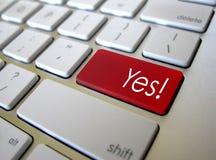 Della tastiera chiave del bottone sì Fotografie Stock