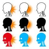 Delle illustrazioni di dolore al collo Fotografie Stock Libere da Diritti