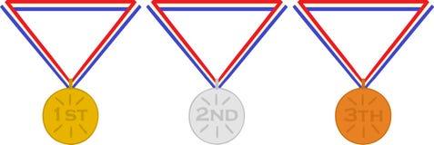 Delle medaglie secondo in primo luogo e terzo bronzo olandese dell'argento dell'oro del posto Immagine Stock