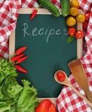 Delle verdure vita ancora con lo spazio in bianco di ricette Fotografia Stock