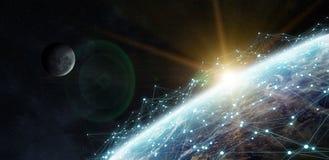 Dello scambio dei dati e rete globale sopra la rappresentazione del mondo 3D Immagine Stock Libera da Diritti