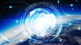Dello scambio dei dati e rete globale sopra la rappresentazione del mondo 3D Immagini Stock Libere da Diritti