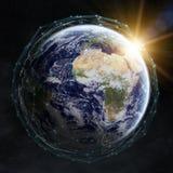 Dello scambio dei dati e rete globale sopra la rappresentazione del mondo 3D Fotografia Stock