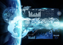 Dello scambio dei dati e rete globale sopra la rappresentazione del mondo 3D Immagini Stock