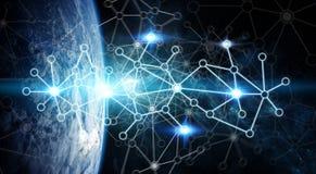 Dello scambio dei dati e rete globale sopra la rappresentazione del mondo 3D Immagine Stock