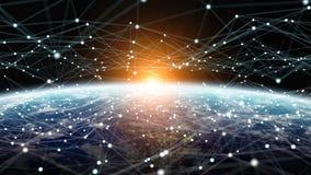 Dello scambio dei dati e rete globale sopra la rappresentazione del mondo 3D Fotografie Stock
