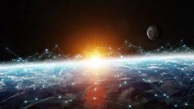 Dello scambio dei dati e rete globale sopra la rappresentazione del mondo 3D Fotografie Stock Libere da Diritti