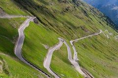 Dello Stelvio de Passo del camino de la montaña de las montañas imagen de archivo libre de regalías
