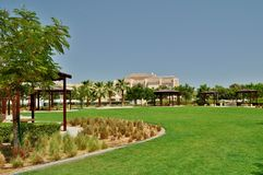 Delma Park in Abu Dhabi green flat area. Park with green grass, trees and palms accurately maintained, with the wooden shades for visitors Royalty Free Stock Images