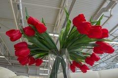 Delningar för metall för tak för bakgrund för hangar för rum för röd vas för blommatulpan glass Arkivfoto