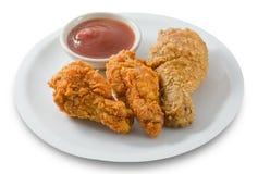 Delocious Fried Chicken Wings profundo con la salsa Fotos de archivo