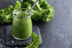 Delocious  kale pesto sauce and fresh raw leaves. On dark background, selective focus Royalty Free Stock Photo