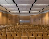 Deloitte Auditorium. In the Business Instructional Facility at 515 E Gregory Drive on the campus of the University of Illinois at Urbana-Champaign in Champaign Royalty Free Stock Photography