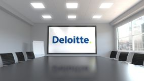 Deloitte logo on the screen in a meeting room. Editorial 3D rendering. Deloitte logo on the screen in a meeting room. Editorial 3D Royalty Free Stock Image