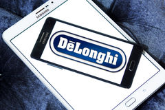 DeLonghi logo. Logo of DeLonghi company on samsung mobile. De`Longhi is a leading brand in home appliances, Coffee makers, kitchen appliances, ironing, floor Royalty Free Stock Photography