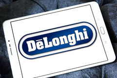 DeLonghi logo. Logo of DeLonghi company on samsung tablet . De`Longhi is a leading brand in home appliances, Coffee makers, kitchen appliances, ironing, floor Royalty Free Stock Photography