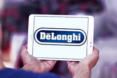 DeLonghi logo. Logo of DeLonghi company on samsung tablet . De`Longhi is a leading brand in home appliances, Coffee makers, kitchen appliances, ironing, floor Royalty Free Stock Photos