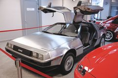 A DeLorean DMC-12 from the front with the gull-wing doors open Royalty Free Stock Images