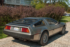 DeLorean DMC-12 rear view royalty free stock photo