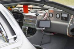 DeLorean DMC-12 zurück zu dem zukünftigen Auto-Modell Interior Stockbild