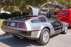 1981 Delorean Sports Car. MATTHEWS, NC - September 4, 2017: A 1981 Delorean DMC-12 sports car on display at the Matthews Auto Reunion & Motorcycle Show royalty free stock photography