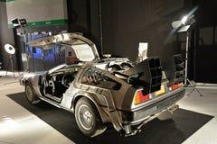 The DeLorean time machine Back to the Future. Franchise based on a DeLorean DMC-12 sports car stock photos