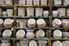 Delores Hidalgo, Mexico-January 10, 2017: Painted Pots On Display Stock Images