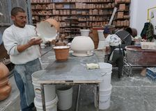 Delores Hidalgo, Mexico-January 10, 2017: Men Painting Pottery Stock Image