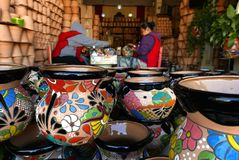 Delores Hidalgo, Mexico-January 10, 2017:People Painting Pottery Royalty Free Stock Image
