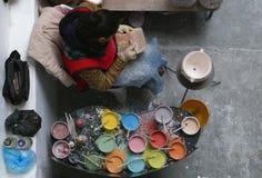 Delores Hidalgo, Mexico-January 10, 2017: Woman Painting Pottery Stock Photo