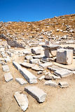 In delos greece. The historycal acropolis and old ruin site Royalty Free Stock Photo