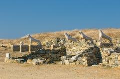 delos Greece wyspy lwów taras Zdjęcia Royalty Free