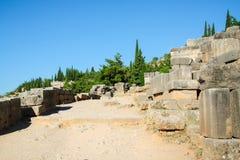 Delphes, route antique au Stade Olympique Site archéologique sur le bâti Parnassus La Grèce, l'UNESCO photos libres de droits