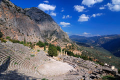 Delphi ancient ruins, Parnassus mountains, Greece. Delphi ancient theatre ruins, Parnassus mountains, Greece Royalty Free Stock Photography