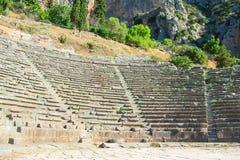 Delphi, ancient theatre. Archaeological site on Mount Parnassus. Greece, UNESCO royalty free stock photo