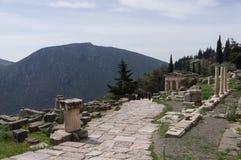 Delphi en de Schatkist van Athene, Griekenland Stock Afbeeldingen