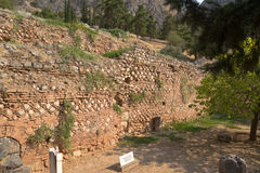 Delphi. The first buildings befor the entrace of the sanctuary Apollon Stock Photography